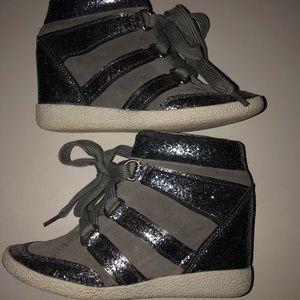 Coach hidden wedge  high top sneakers size 7.5 M